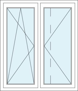 Zweiflügeliges Fenster mit Dreh- und Dreh-Kipp-Funktion sowie Stulp