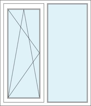 Zweiflügeliges Fenster mit Dreh-Kipp-Funktion und Festverglasung im Rahmen