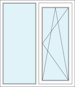 Festverglasung und Zweiflügeliges Fenster mit Dreh-Kipp-Funktion  im Rahmen
