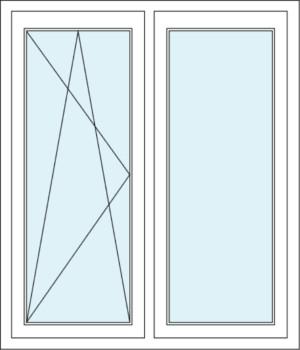 Zweiflügeliges Fenster mit Dreh-Kipp-Funktion und Festverglasung im Flügel