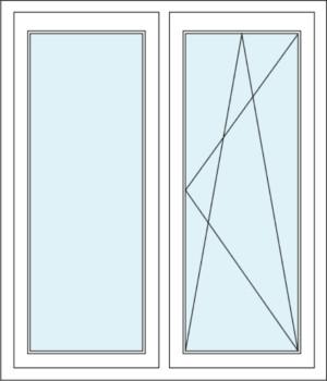 Festverglasung und Zweiflügeliges Fenster mit Dreh-Kipp-Funktion im Flügel