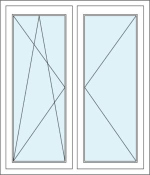 Zweiflügeliges Fenster mit Dreh- und Dreh-Kipp-Funktion