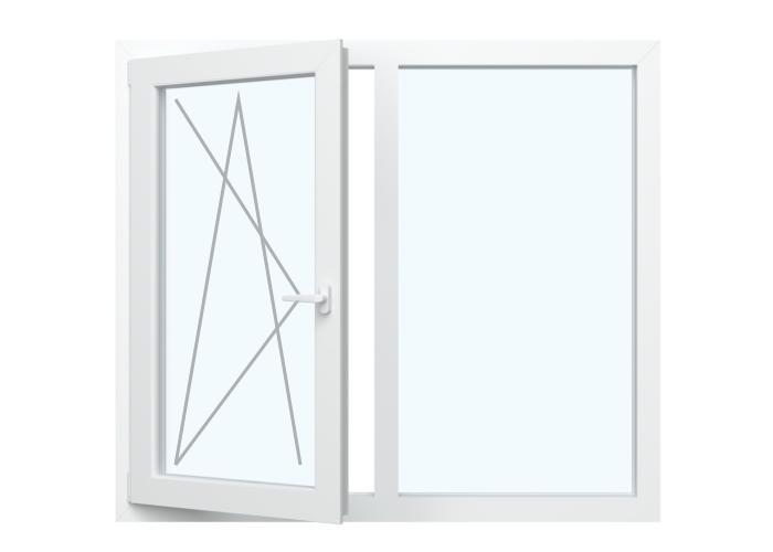 Fenster Dreh Kipp   Links + Festverglasung in Rahmen