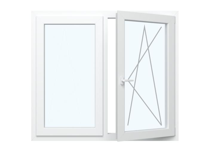 Festverglasung in Flügel + Fenster Dreh Kipp  Rechts
