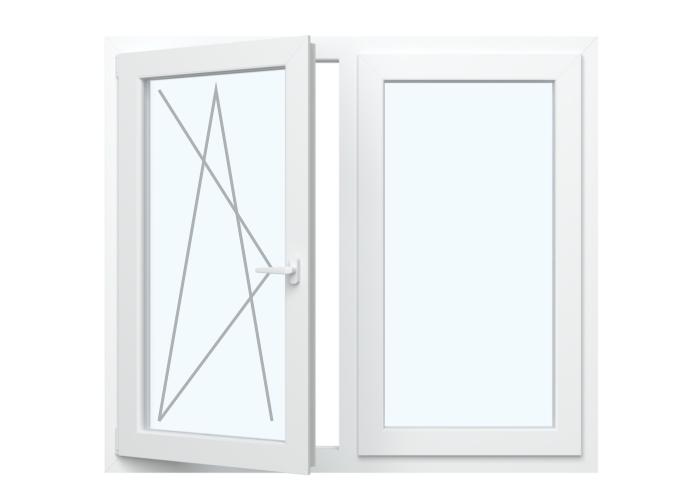 Fenster Dreh Kipp Links + Festverglasung in Flügel