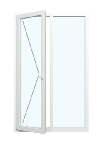 Balkontür mit Dreh-Funktion und Festverglasung im Rahmen
