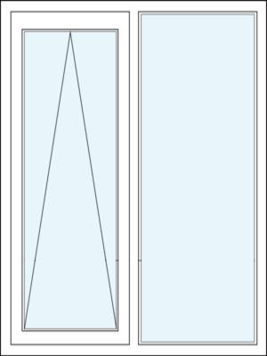 Parallelschiebekipptür mit Festverglasung im Rahmen Links