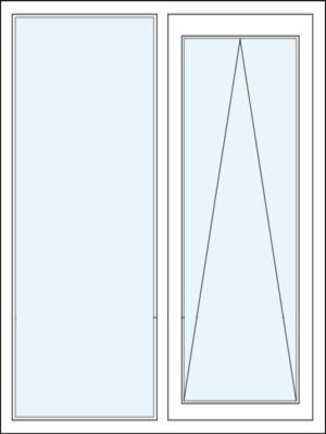 Parallelschiebekipptür mit Festverglasung im Rahmen Recht