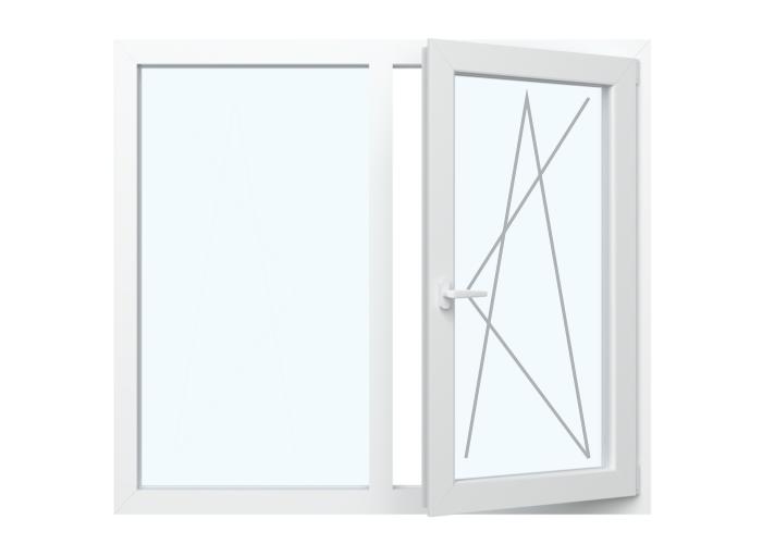 Festverglasung in Rahmen + Fenster Dreh Kipp  Rechts